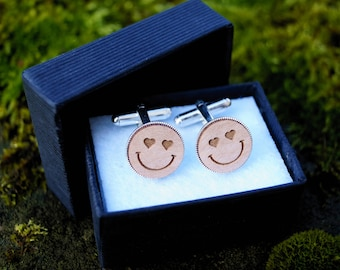 Cufflinks Smiley - Wedding groom best man accessories - Wood and silver plated - customizable