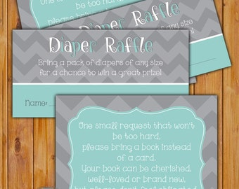 In Lieu of card, Book Baby Shower Invitation Inserts Instead of a card Diaper Raffle Combo Blue Grey Chevron Printable PDF--Instant Download
