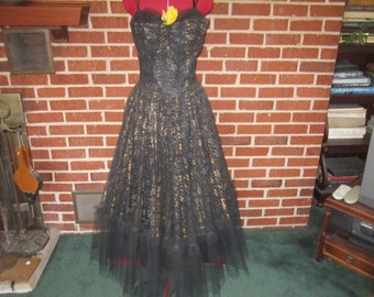 Vintage 1950s Black and Gold Net Lace and Taffeta Party Dress