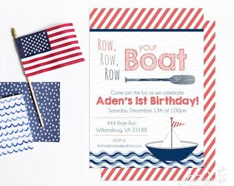 First Birthday Invitations   1st Birthday   Boat Invitation   Nautical Invitation   Sail Boat Invitation   Nautical Birthday