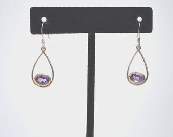 Amethyst Earrings, Vintage Earrings, Drop Dangle Earrings, Sterling Silver Earrings, Silver Amethyst Earrings, 1970s Earrings