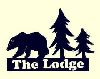 The LODGE, Northwoods,Bear,Pine trees,Metal Art,Cabin,Lodge,Lake,Outdoorsy,Woodland,Decor, Personalized