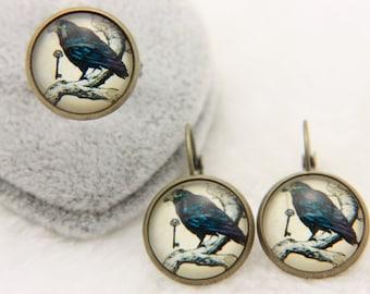 Raven jewelry SET earrings ring 1616P
