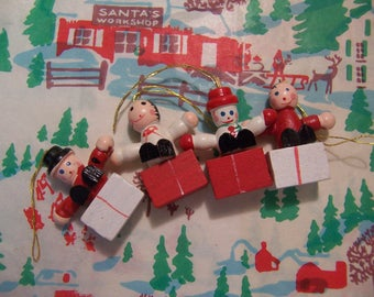 wee wooden block christmas ornaments