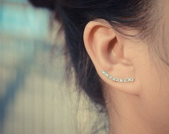 Aquamarine Ear Climbers Sterling Silver - Lucky 9s