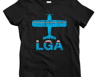 Kids Fly New York City LaGuardia T-shirt - LGA Airport - Baby, Toddler, and Youth Sizes - NYC Tee, Travel, Gift - 2 Colors