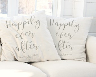 Happily Ever After, Personalised Cushion, Wedding Gift, Housewarming Gift, Home Decor, Romantic Gift, New Home Gift, Anniversary Gift