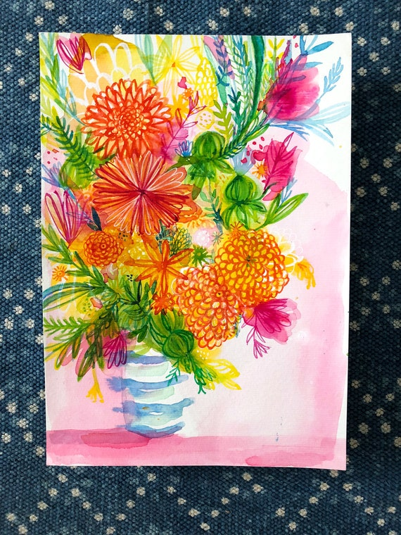 Original watercolour and ink painting on paper Blue Striped Vase artwork by Paula Mills
