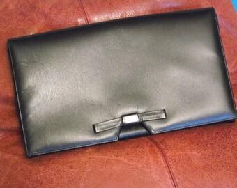 Vintage Clutch Purse Black Pleather Bow Mid Century