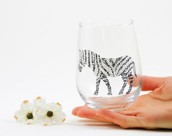 Zebra wine glasses - Hand painted stemless wine glass - Safari Collection