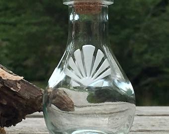 Scallop etched keepsake bottle