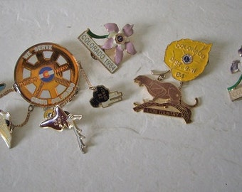 Four Colorado State Lion's Club Trading Pins, Vintage, 1980s.