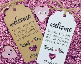 Welcome Bag Tags, Hotel Bag Labels For Wedding Abroad / Destination, Thank You Note