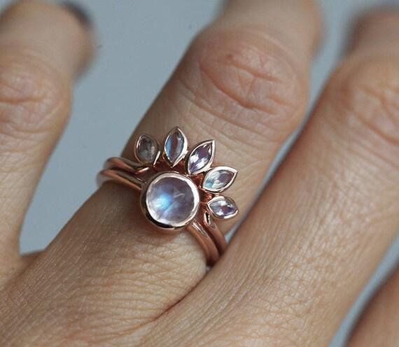 Moonstone Engagement Ring Set Rose Gold Moonstone Ring Rose