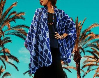 New Blue & White Rope Print Ruana Wrap/Boho Kimono/Women Poncho/Women Cape/Lightweight Jacket/Women Cloak/Women Stole/ Oversize Wrap/CoverUp