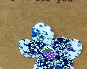 Just for you ' Purple Strawberry button ' greeting card.