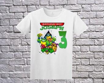 Teenage Mutant Ninja Turtles Birthday T-Shirt, Custom TMNT Shirt, Personalized Ninja Turtles Apparel,Custom TMNT , Ninja Turtles Theme Party