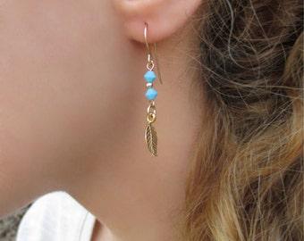 Turquoise Dangle Earrings, Turquoise Earrings, Turquoise Earrings Dangle, Turquoise Gold Earrings, Gold Dangle Earrings,Gold Earrings Dangle