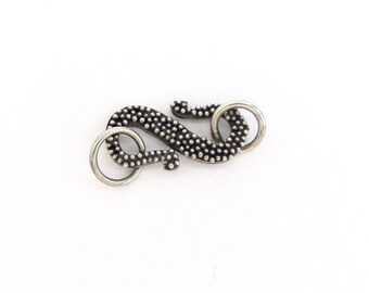 Sterling Silver S Clasp, Granulated Bali Silver Clasp, S Hook Clasp, Bali Clasp, 925 Sterling Silver, Craft Supply, Beading, Jewelry Supply