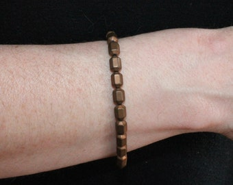 Bronze Geometric Beaded Stretch Bracelet