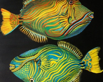Tempera fish on paper prepared with acrylic background, original painting