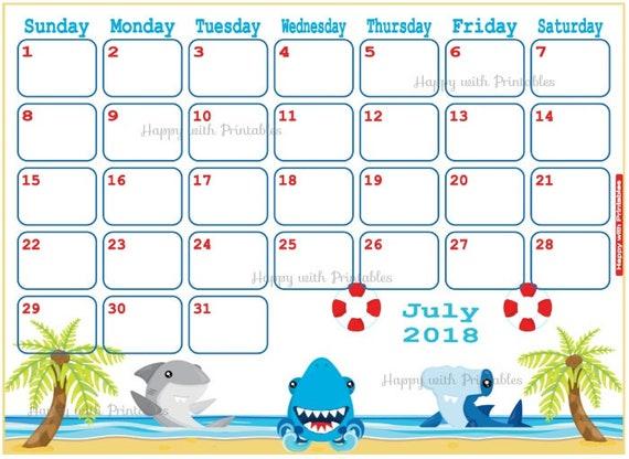 calendar july 2018 shark planner printable summer planner