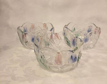 Mikasa Tivoli crystal vintage salad bowls