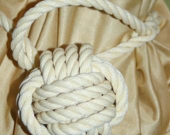 Nautical Curtain Tie Back Cream Beige Yellowish Monkey Fist Hand Knotted