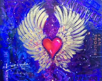 My Heart Has Wings Art Print | Winged Heart Wall Art | Lucinda Rae Art | 10x8 Print