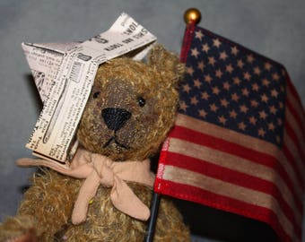 Full Mohair Kit: Yankee Doodle Teddy, pattern,Flag, Free Shipping
