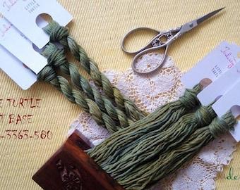 Hand painted matt cotton floss 'LITTLE TURTLE' hand dyed thread for embroidery, cross stitch, punto cruz, point de croix, blackwork