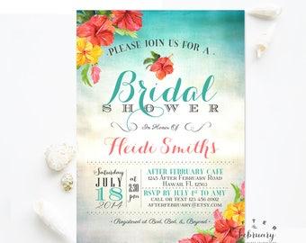 Hawaii Bridal Shower Invitations Aloha Hawaii Tropical Bridal Shower Invitation Luau Invitation Hawaiian Invitation Printable No.506BRIDE