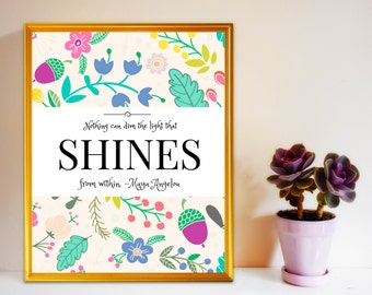 """Inspirational Quote""""Shines from Within"""" Typography Poster Canvas Art Canvas Quotes Typography Print Inspirational print Get Well"""