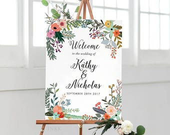 Printable Welcome Sign Poster - Wedding Welcome Sign PDF Download - Wedding Reception Sign Printable Wedding Signs PDF - (Item code: P1010)