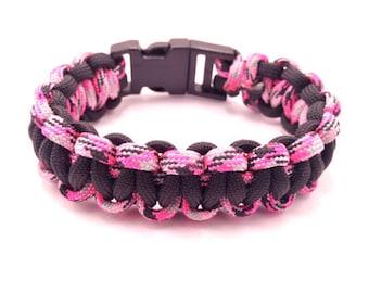 Paracord Survival Bracelet | Black & Pink Camouflage | Tactical Bracelet| Paracord Bracelet | Army Bracelet | Survival Bracelet