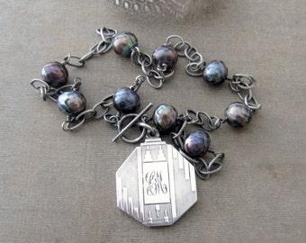 Sterling Silver Locket Necklace, Art Deco Locket, Vintage Locket, Picture Locket, Unique Locket, Pearl Locket, Push Gift Silver Photo Locket