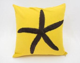 Starfish Pillow Cover, Yellow Linen Pilow Dark Brown Starfish, Nautical Pillow, Cottage Decor, Embroidered Coastal Pillow, Cushion
