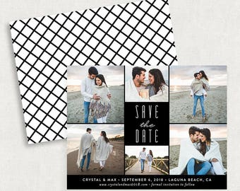 Photo Save the Dates, Photo Save the Date Magnets, Save the Dates with 6 Photos, Black and White Save the Dates, Printable Save the Dates