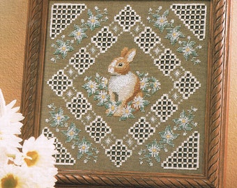 Rabbits & Daisy Flowers Counted Cross Stitch Pattern Chart - Animal Cross Stitch - Flower Cross Stitch