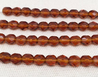 50 Translucent Amber Czech Faceted Glass Beads 6mm
