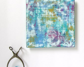 """Small Abstract Painting on Hardboard Panel. Ready to Hang. Modern Art. Contemporary Artwork. Wall Art. Original Acrylic Painting. 6"""" x 6"""""""