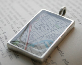 Map Pendant, Custom Order Option-Rectangle, You Name the City or Hometown, In Silver Pewter, Gold or Copper