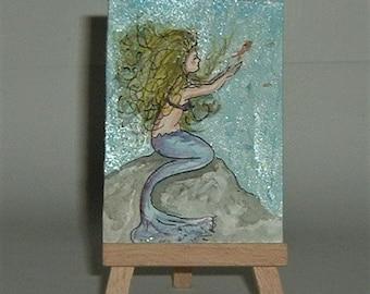 aceo art painting mermaid (ref E196)