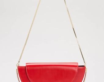 Half Moon Shoulder Bag, Half Moon Box Leather Bag, Red Leather Shoulder Bag Purse, Red Leather Purse, Red Handbag Leather, Leather Bag