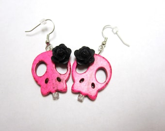Pink Sugar Skull Earrings Day Of The Dead Jewelry Black Rose