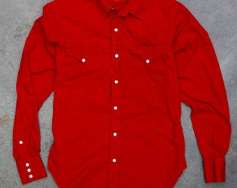 1970s Ralph Lauren Red Western Wear Top Vintage Button Down Oxford Shirt Size SMALL 7BD