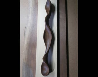 Wooden Abstract Sculpture - Wall Hanging Form No.2 - 2018 - Carved From Black Walnut With Hand Tools - Fluid, Modern, Organic, Biomorphic