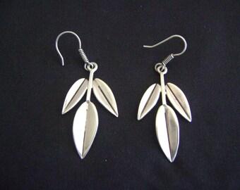 Sterling Silver Leaves Pierced Earrings