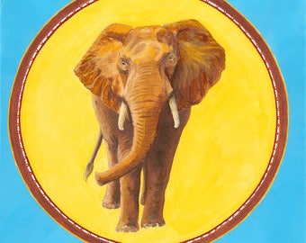 Elephant Totem Original Oil Painting on Canvas