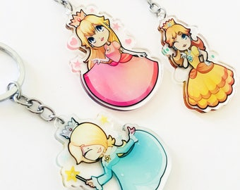 Mario Princess Double Sided Acrylic Charm | Peach Daisy Rosalina